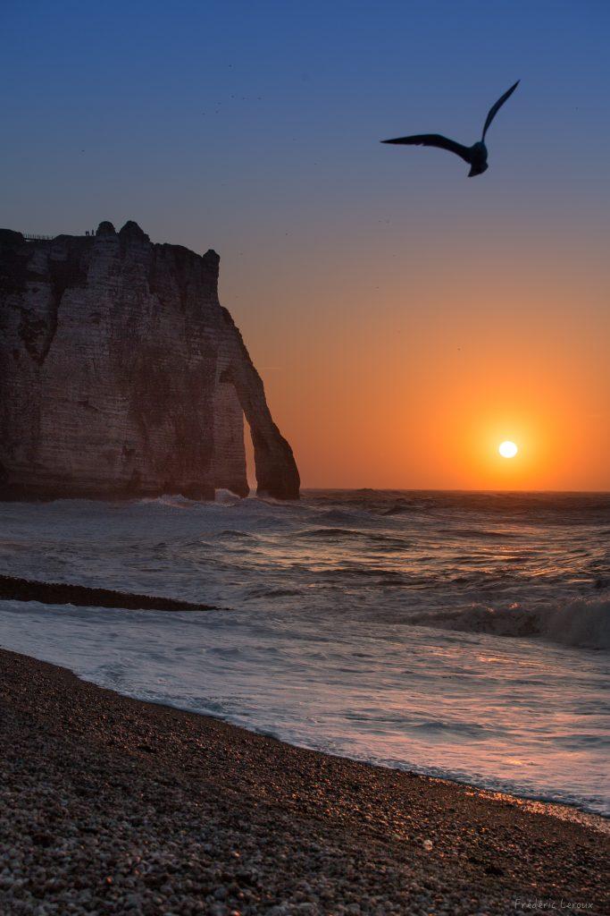 coucher de soleil étretat